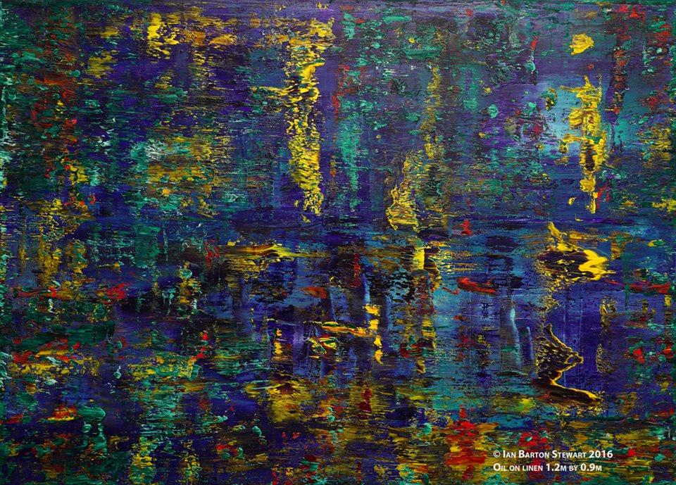 Reflections On Water: A stunning painting painted in early 2016. Destined to become regarded as one of the 21st century's masterpieces. Reflections on water is a subject that has fascinated artists and musicians for centuries. The best known musical work of this subject is Debussy's Reflets dans L'eau, from his composition Images. Oil on linen 1.2m by 0.9m.