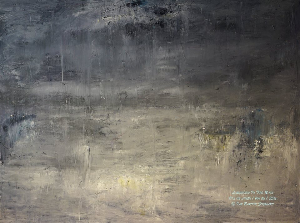 Laughter In The Rain by Ian Barton Stewart: This painting shows the expressive possibilities of greys and whites. Laughter in the Rain is a composition by Claude Debussy in his work Estampes. This is one of the finest paintings available in the world today.