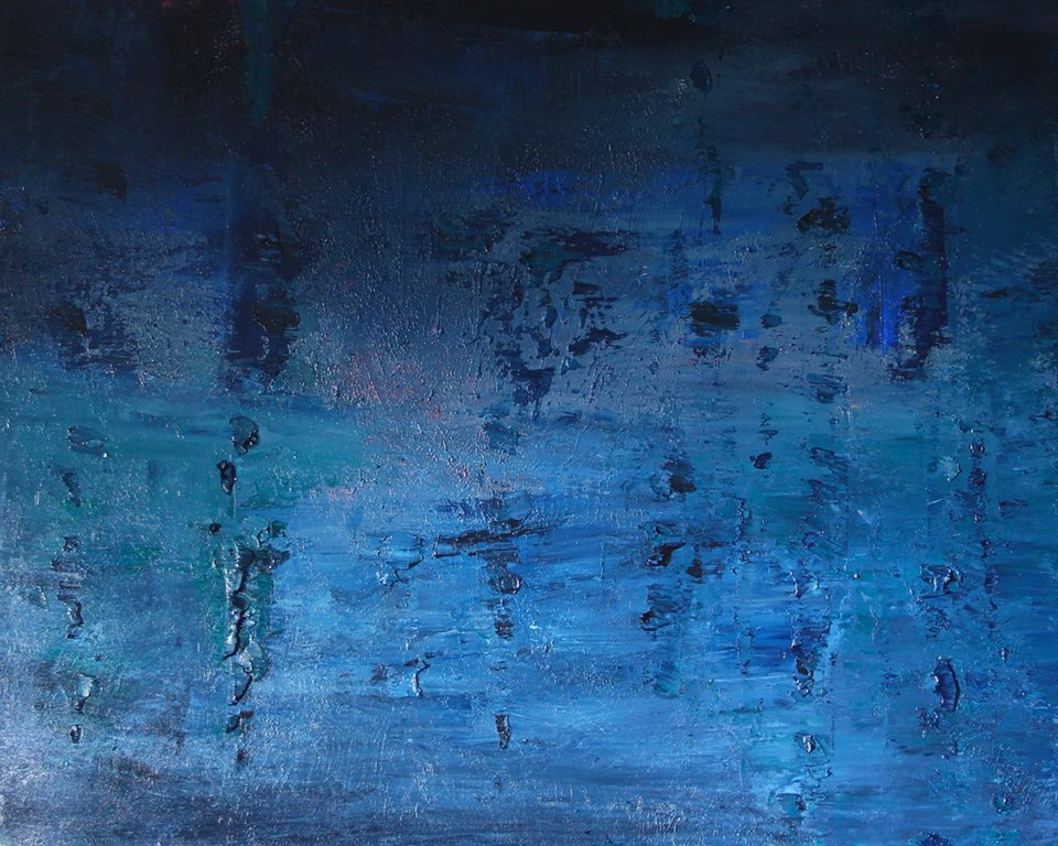 Midnight Sky: This painting is oil  on linen and 1.5m by 1.2m.