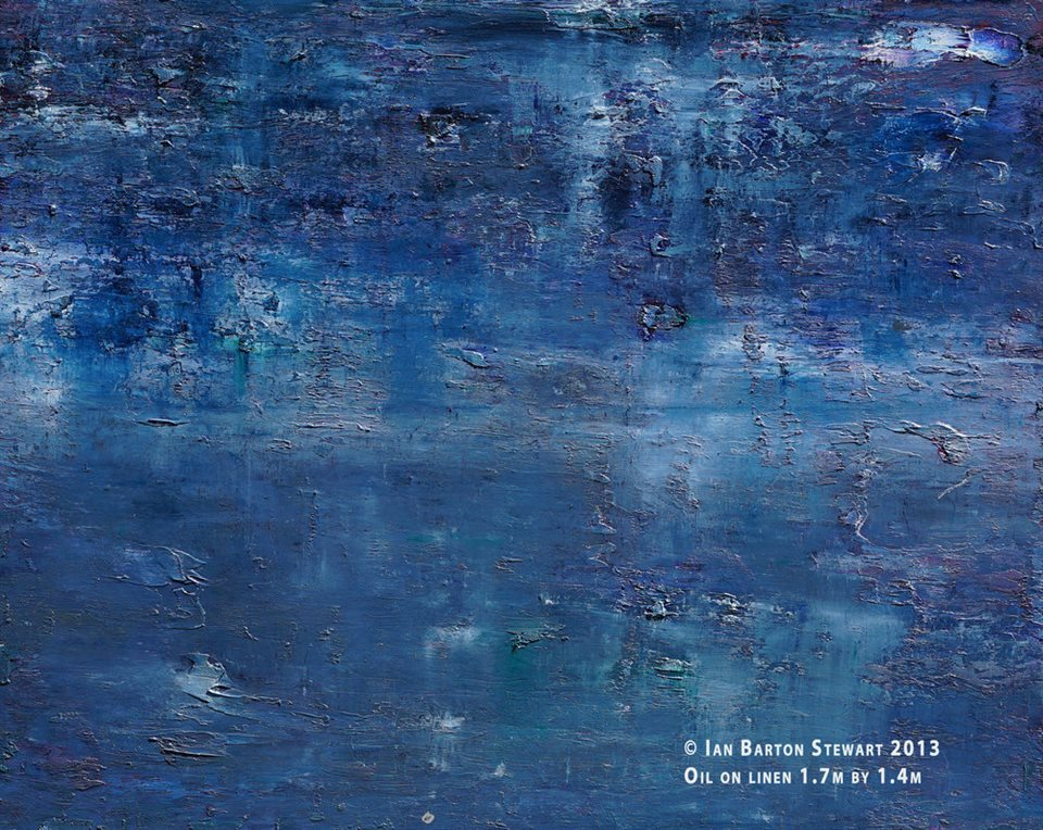 No Temple For Apollo: A majestic subject in a painting that explores the possibilities of blues, greys and whites.